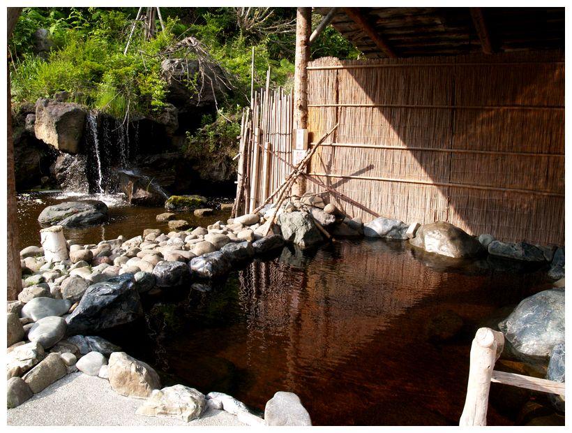 金の沢天然温泉開拓ふくろふ乃湯の池側の露天風呂の写真