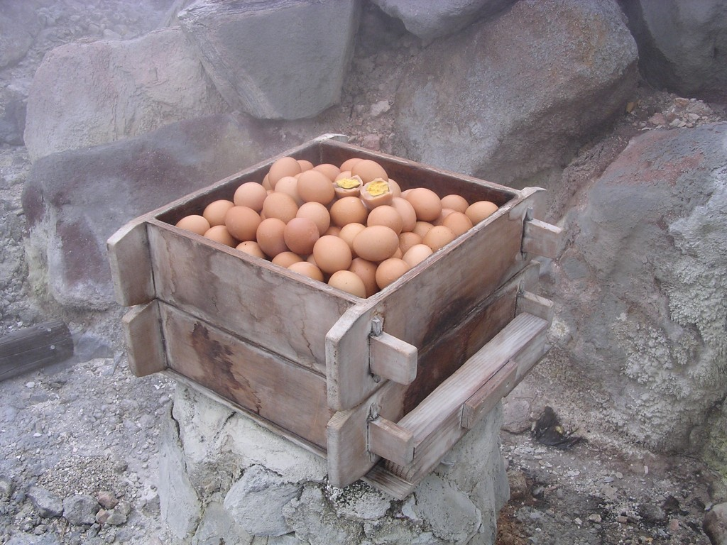 塚原温泉 火口乃泉 蒸し卵