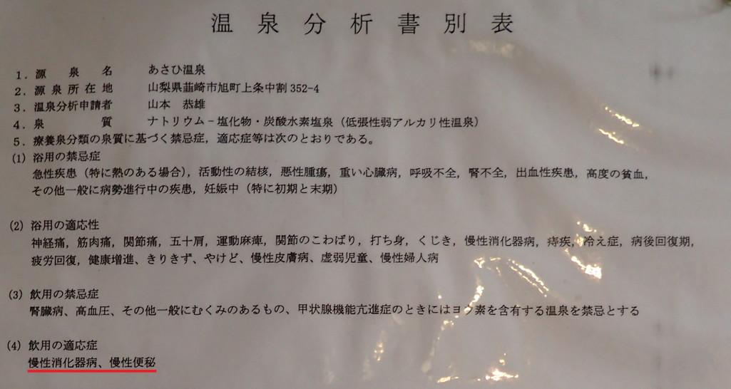 韮崎旭温泉 温泉分析書 別表