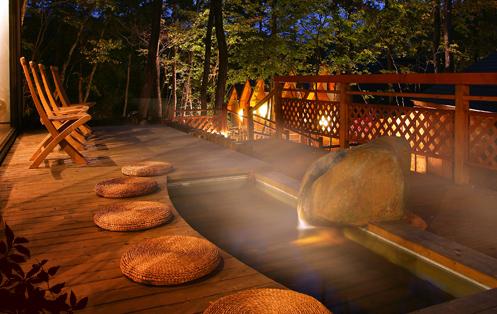 栃木 鬼怒川温泉 自然浴 離れの湯 あけび 足湯の写真