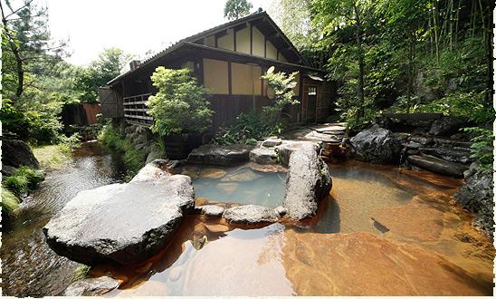 熊本 源流の宿 帆山亭 客室露天風呂の写真