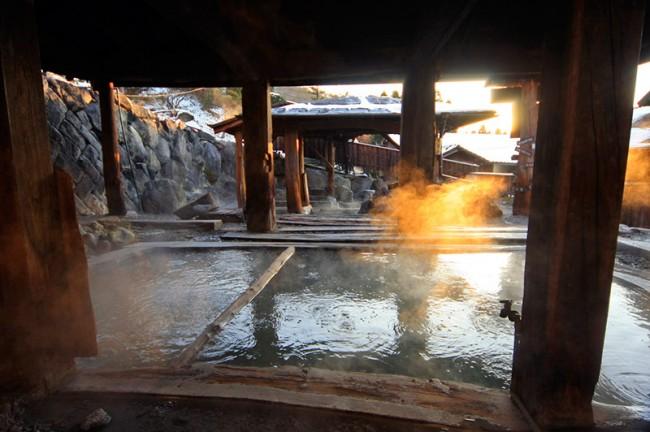 白い煙が立ち込める地獄温泉清風荘