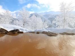 凌雲閣 雪の中の露天風呂