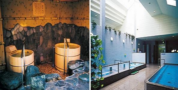 愛媛県松山市道後さや温泉 ゆらら 桧風呂と大浴場