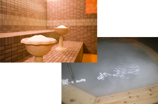 福岡県 博多の森 湯処 月の湯 塩サウナ、ミルキーバス