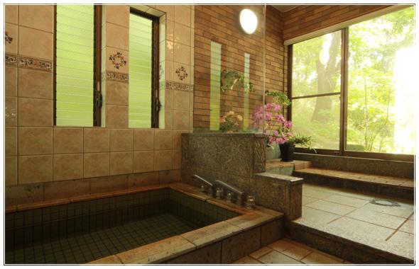 浴室内に観葉植物がたくさん飾られたガーデン風の温泉