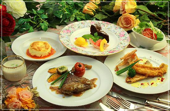 料理は地元那須高原で採れる旬の高原野菜をふんだんに使用した欧風フルコース。