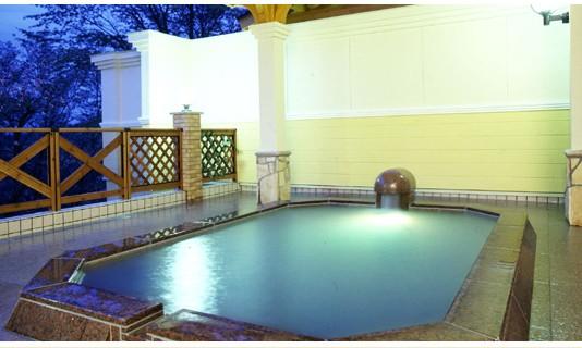 那須では珍しいうっすらと緑掛かった乳白色のにごり湯露天風呂
