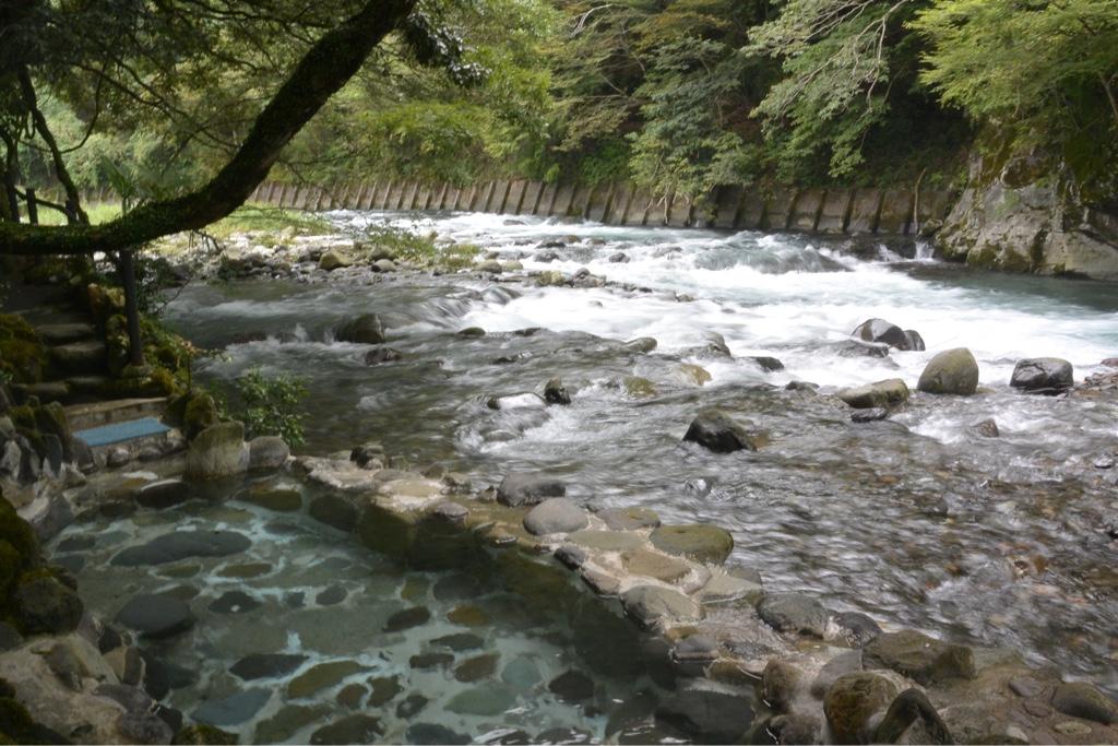 目の前には狩野川の渓流が!