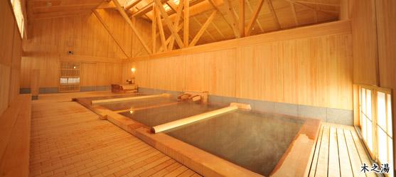 檜の浴槽に杉の天井、木に囲まれた明るい浴場