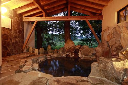 10人は楽々入れる大きな岩風呂 紫式部