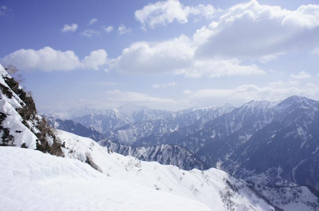雪で覆われた黒部渓谷