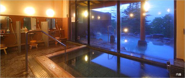 那須高原ホテルビューパレス 内湯から見た露天風呂