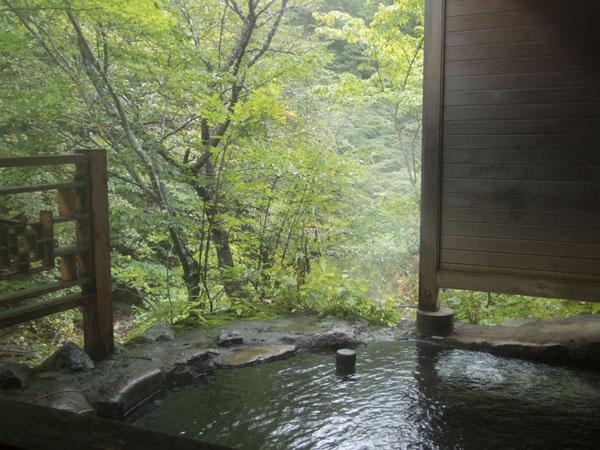 女湯の河原の湯。渓流を眺めながら入れます