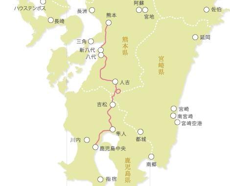 JR九州ウェブサイト列車MAPより作成