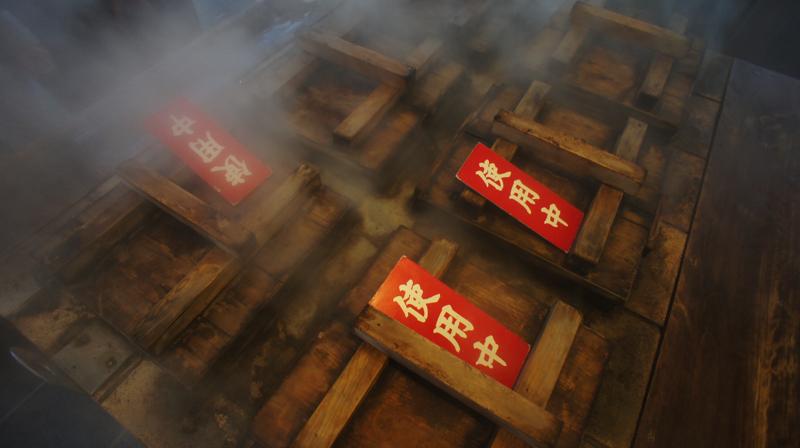 温泉まんじゅう 地獄蒸し器の写真