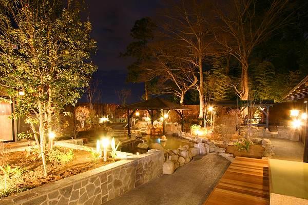 杉戸温泉「雅楽の湯」の夜の露天風呂の写真