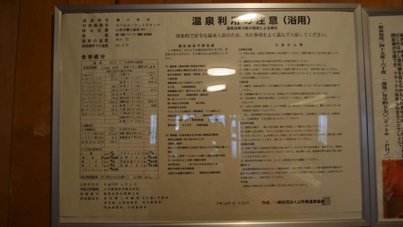 蔵王温泉ルーセントタカミヤの温泉の成分表の写真