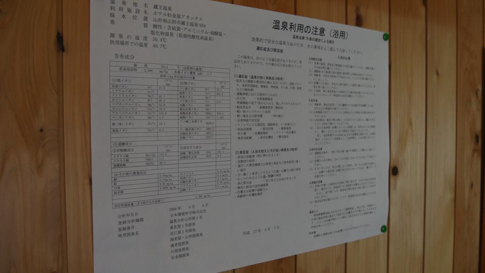 蔵王温泉 松金屋アネックスの分析書の写真