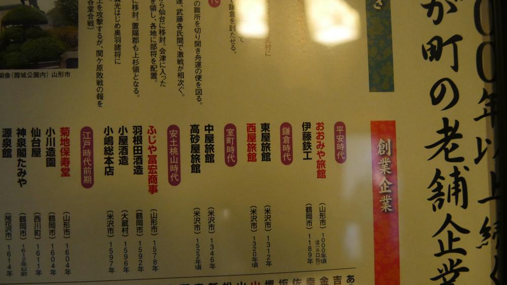 山形県の老舗企業年表の写真