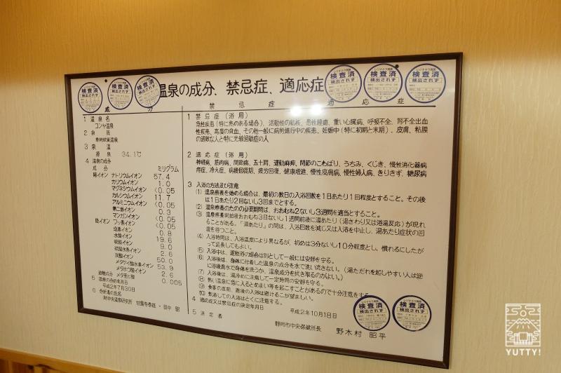 コンヤ温泉【大野木荘】の温泉の成分、禁忌症、適応症が記載された掲示板の写真