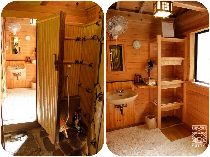おもいでの宿 湯の島館 「山の湯」の脱衣場とカランの写真