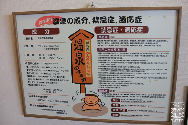 舘山寺サゴーロイヤルホテルの温泉の成分、禁忌症、適応症を記した掲示物の写真