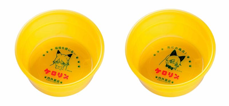 けものフレンズのケロリン桶の二種類の写真(株式会社KADOKAWA・内外薬品株式会社提供)