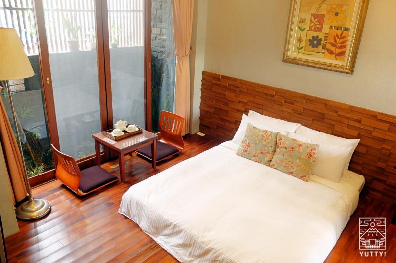 四重渓温泉 清泉日式温泉旅館の豪華御詠房のベッドの写真
