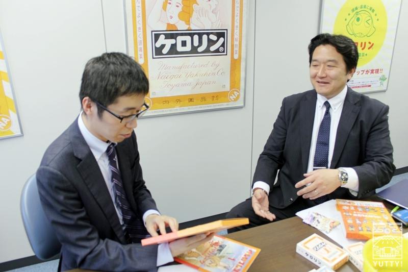 内外薬品の代表取締役社長・笹山敬輔さんと、コラボ企画担当の北村学さんの写真