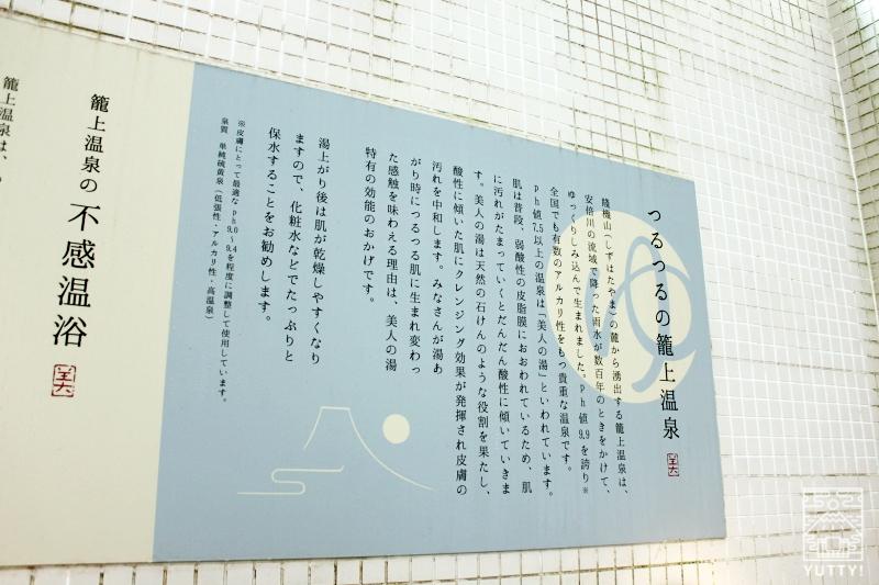 「籠上温泉」を説明している壁看板の写真