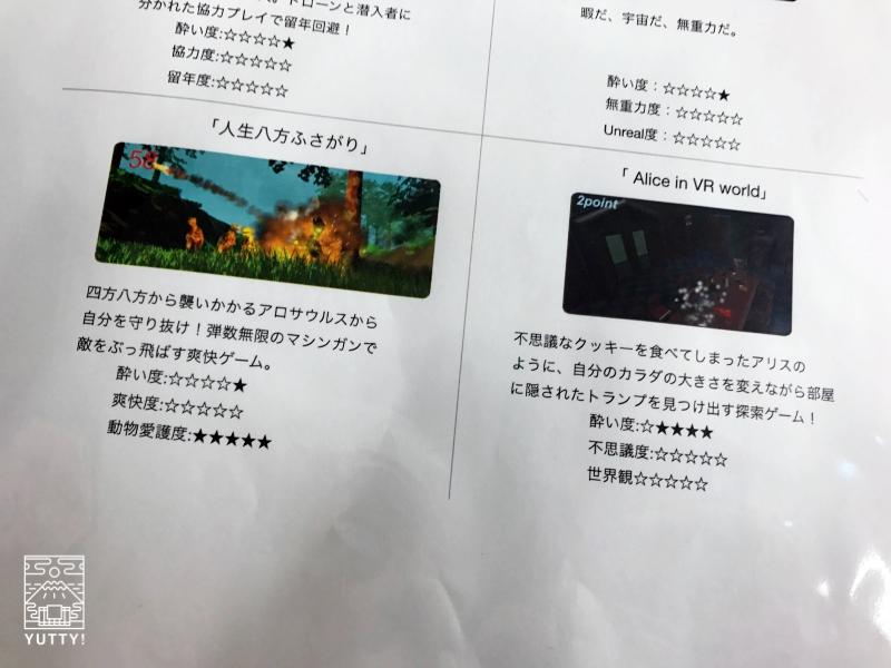 「Alice in VR-land」と「人生八方ふさがり」のゲーム内容を紹介している紙の写真