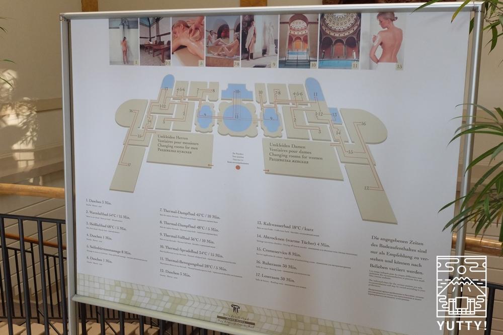 フリードリヒス浴場の館内図の写真