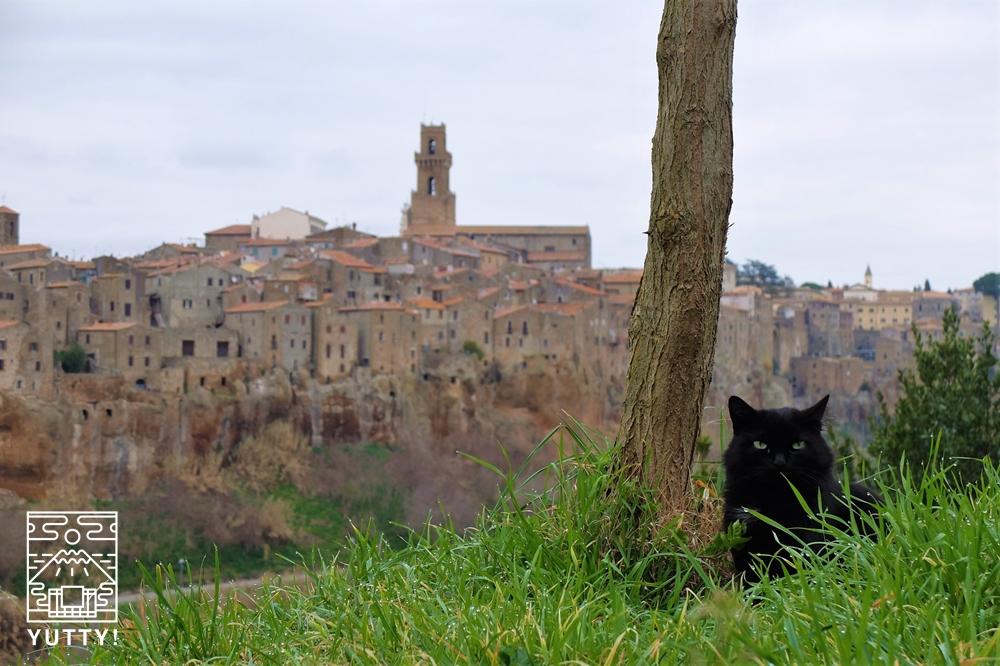 オルビエートの景色と猫の写真