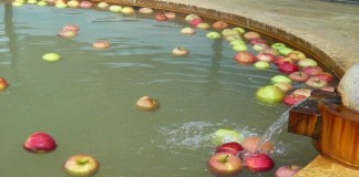 リンゴの湯 露天風呂にリンゴ