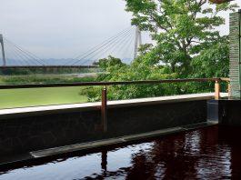 十勝川第一ホテルの展望露天と日高山脈